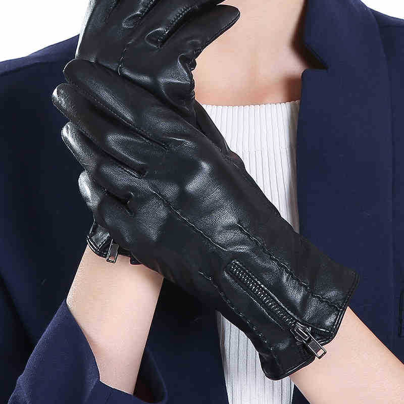 Promotional Price Imported Sheepskin Leather Ladies Gloves Winter Driving Fingers Warm Fashion Thin Style Ladies 2-5