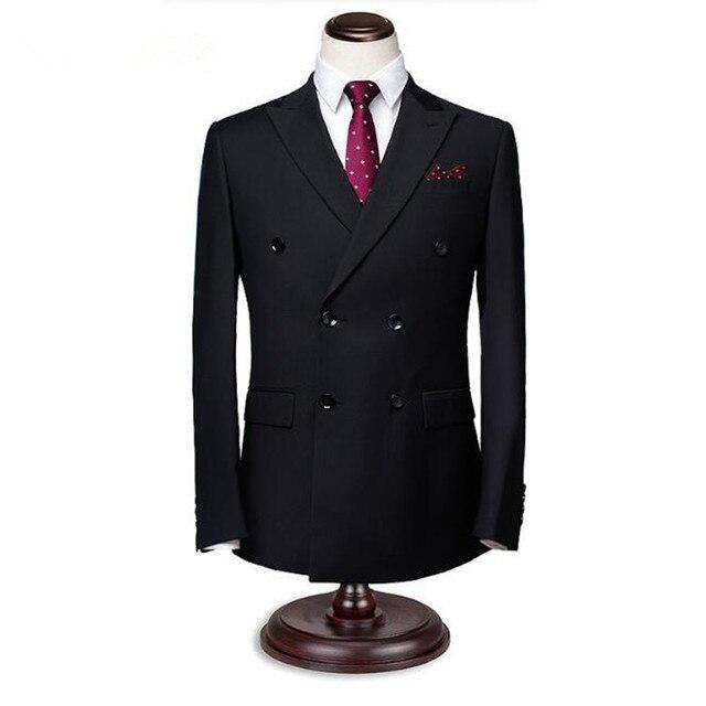 1e8b31840 Negro vestido de boda del novio hombres trajes de chaqueta de doble  botonadura chaqueta de caballero elegante trabajo formal trajes de negocios  ...