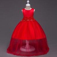 3-dix années Princesse Parti Robe pour Les Enfants De Demoiselle D'honneur Rouge Violet Bleu Sans Manches robe de Bal Élégant Boutique Vêtements Robes