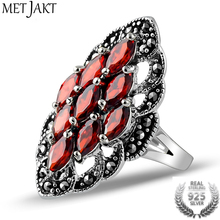 MetJakt Vintage Ruby Ring with Zircon Solid 925 Sterling Silver Lace Beautiful Ring for Women Party Wedding Thai Silver Jewelry цена 2017
