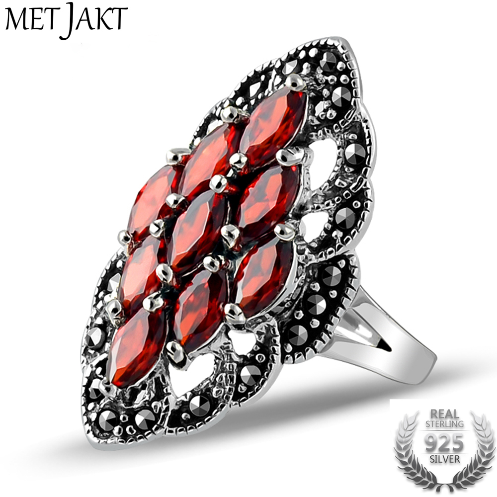 MetJakt Vintage Ruby Ring with Zircon Solid 925 Sterling Silver Lace Beautiful Ring for Women Party Wedding Thai Silver Jewelry ...