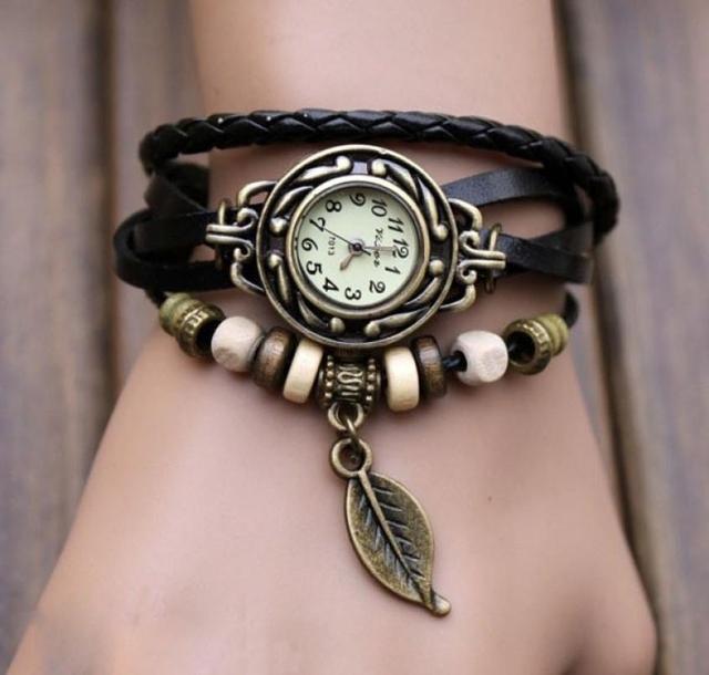 2018 hot Retro Butterfly Leaf Fashion leather Bracelet Water Quartz Hand Clock Women Wrist Watch Wristwatch 1HHB 6T33 C2K5W
