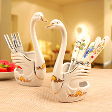 Swan Base Holder Fruit Forks Cartoon Foundation Pedestal Tableware Cutlery De Porcelana Set Vajilla Completa Party Supplies 649(China)