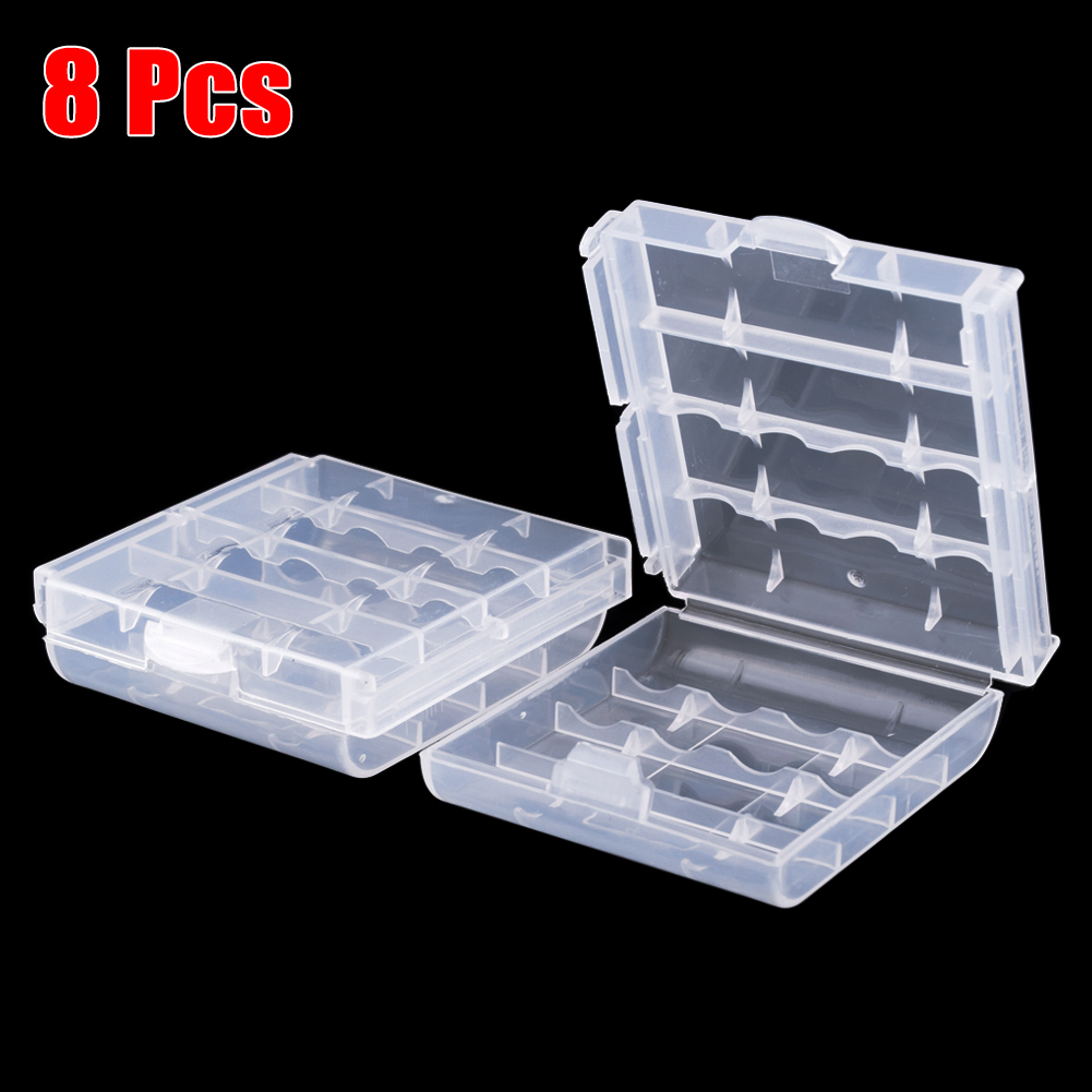 YCDC Waterproof 8pcs Hard Plastic Case Cover Holder AA/AAA Battery Storage  Box Batteries Container