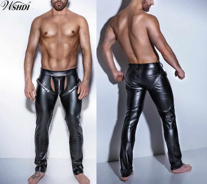 Sexy Men Faux Leather Open Crotch Erotic Latex Pants PVC Night Club Men  Straps Trousers Gothic