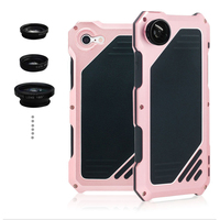 i8 Luxury doom armor Dirt Shock Waterproof Metal Aluminum cell phone case For iphone 7 8 4.7 case Fisheye Wide angle lens R just