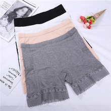 Solid Women Safety Short Pants Seamless Lace Stitching Panties Underwear Modal Breathable Briefs