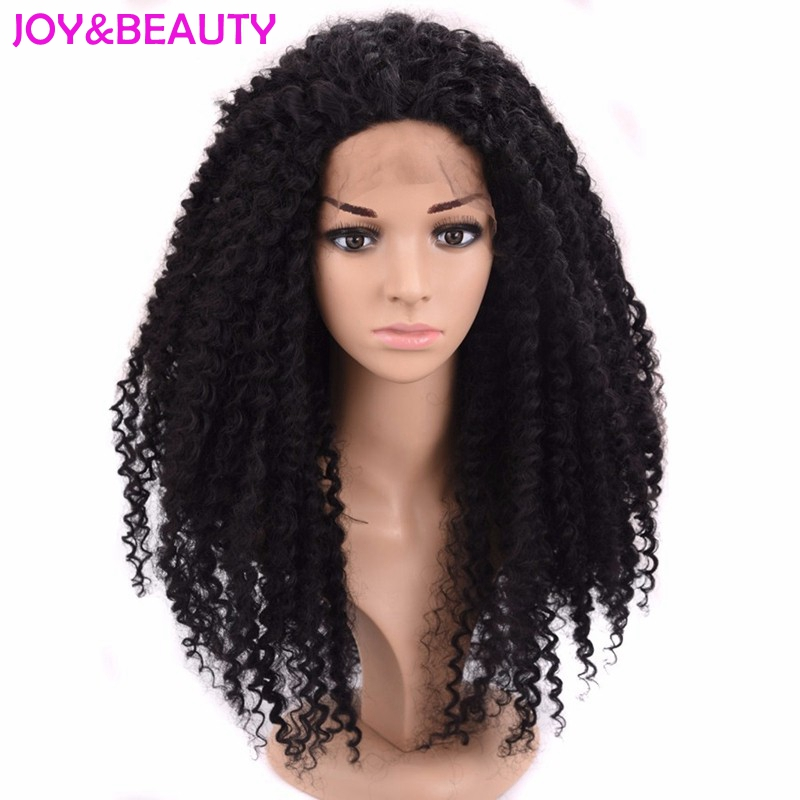 JOY BEAUTY Hair afro kinky curly wigs black synthetic lace front wig Natural Black High Temperature