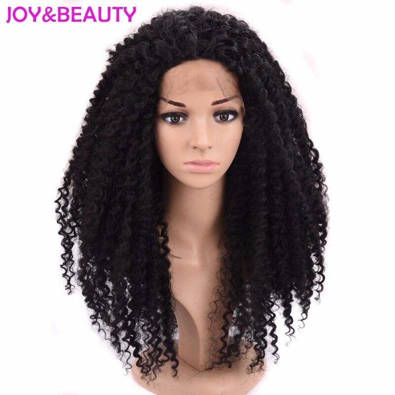 Joie & beauté cheveux afro crépus bouclés perruques noir synthétique dentelle avant perruque naturel noir haute température Fiber synthétique cheveux
