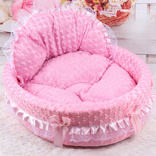 Lace Princess Dog Basket Bed Puppy House Pet Dream Nest Pet Kennel Luxury Cat Sofa Dog Nest Soft Cat Dog Beds
