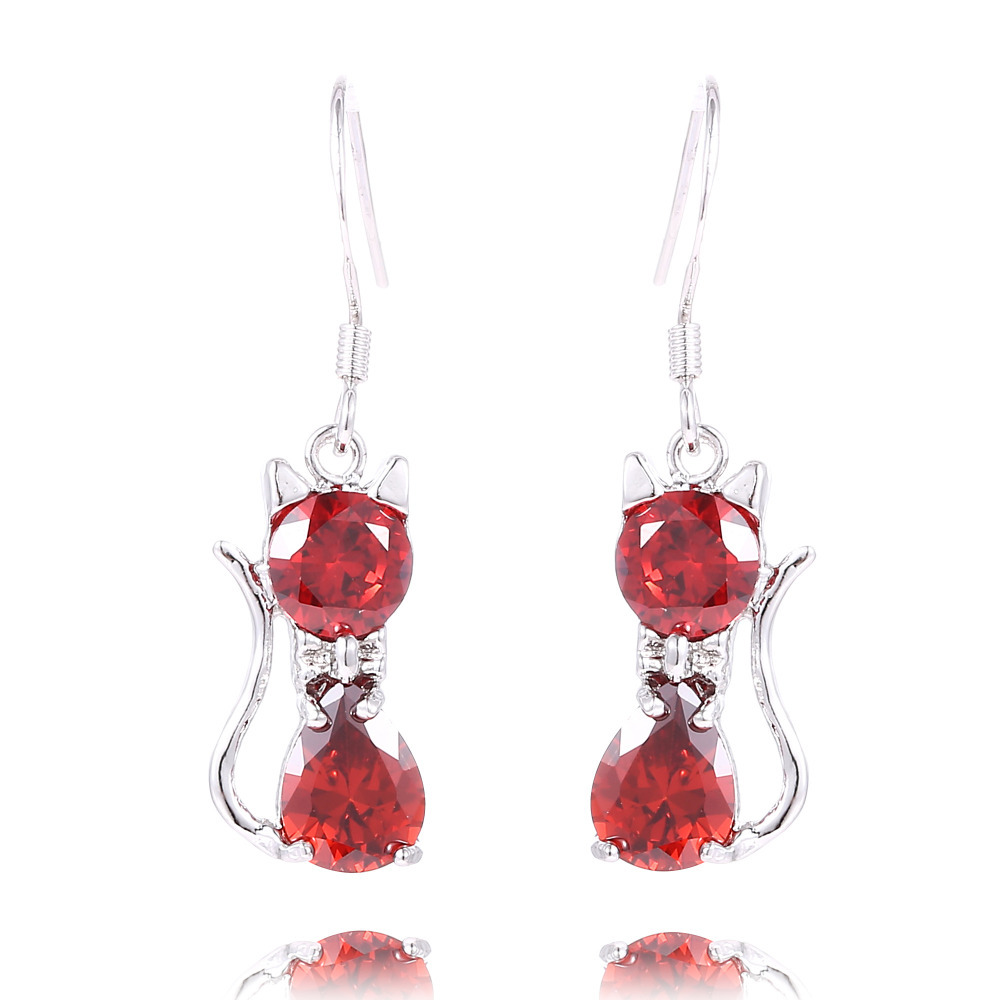 H:hyde Nice Shipping 1pair Silver Color Red Fashion Cz Cubic Zirconia Cat Dangle  Earrings