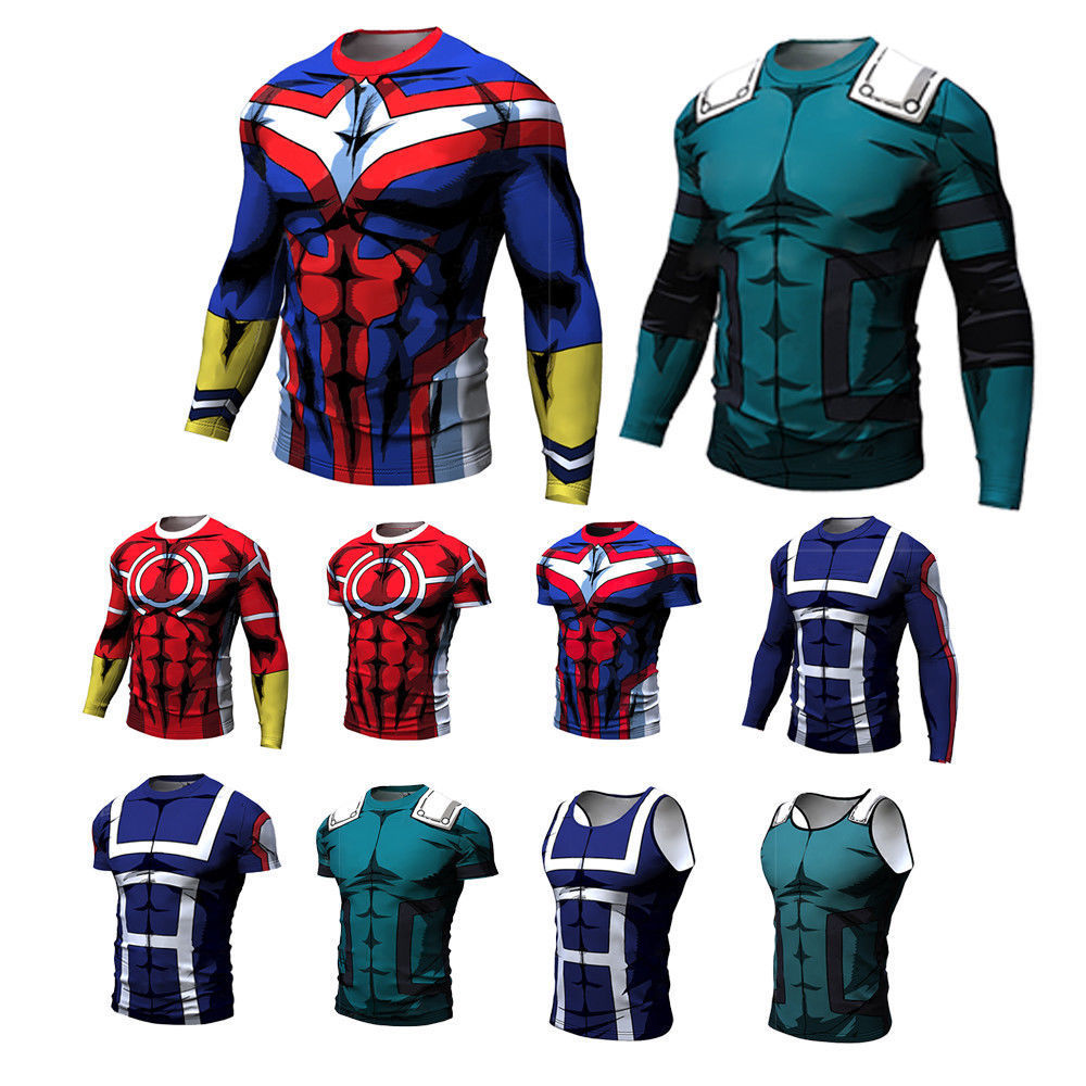 New My Hero Academia Men's Summer T-shirts Midoriya Izuku 3D Printing School College Style Boku No Hero Academia T Shirt Tops
