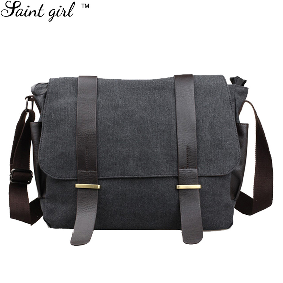 Saint Girl 2016 New Designer Medium Canvas Leather Belts School Shoulder Bag Men Messenger Bags Gray Men's Travel Bags SNS291 new 2016 designer girl autumn