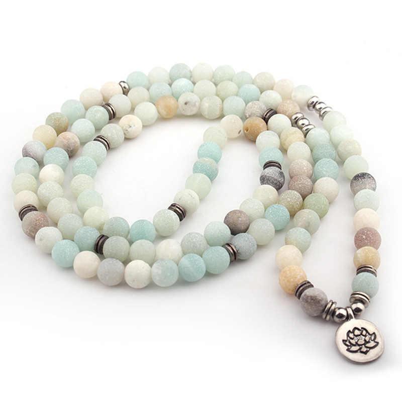 Pulsera de cuentas de 108 Mala, pulseras de encanto de loto para mujer, pulsera de Yoga con cuentas de amazonita esmerilada, collar de joyería, envío directo