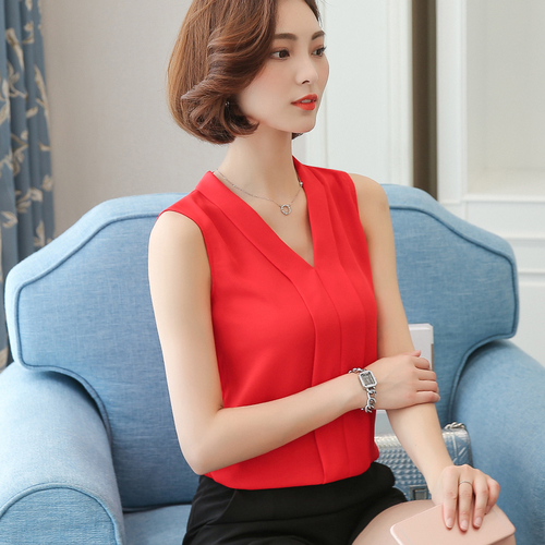 Weihnachten J41938 Sommer Eine Größe 2018 Chiffon Hemd V-ausschnitt Einfarbig Sleevess Büro Dame Arbeit Casual Shirts