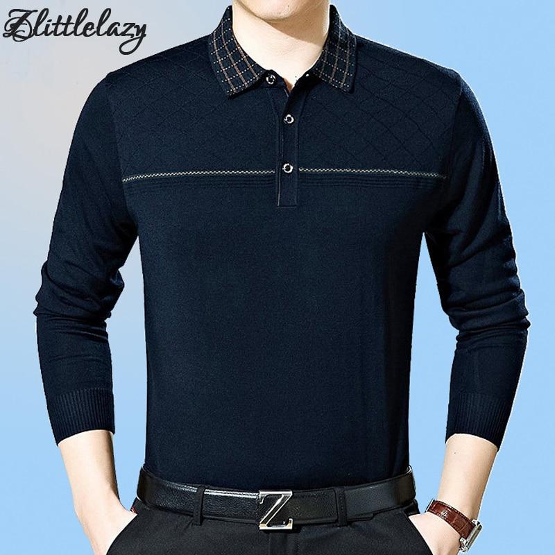 2018 brand fashion slim fitness winter thick long sleeve polo shirt men pol line casual cotton mens polos shirts clothing 1037