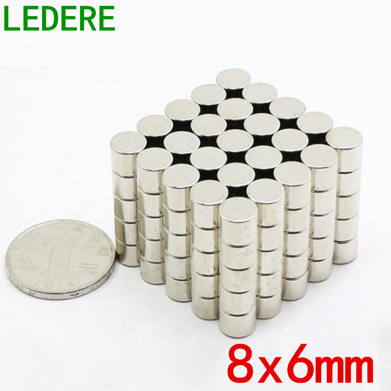 LEDERE 20/50Pcs 8x6 neodymium magnet 8mm*6mm strong rare earth neodymium magnets 8*6 NdFeB permanent round magnetic 8mmx6mm телефон мобильный alcatel onetouch 2008g
