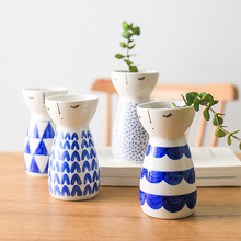 Creative Geometric Pattern Ceramic Vase Living Room Dried Flower Home Decoration Gifts