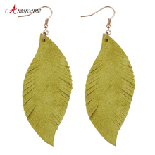 Amorcome Feather Real Goat Leather Earrings For Women Alloy Hook Dangle Earring Drop Statement Ladies Jewelry Gifts Pendientes