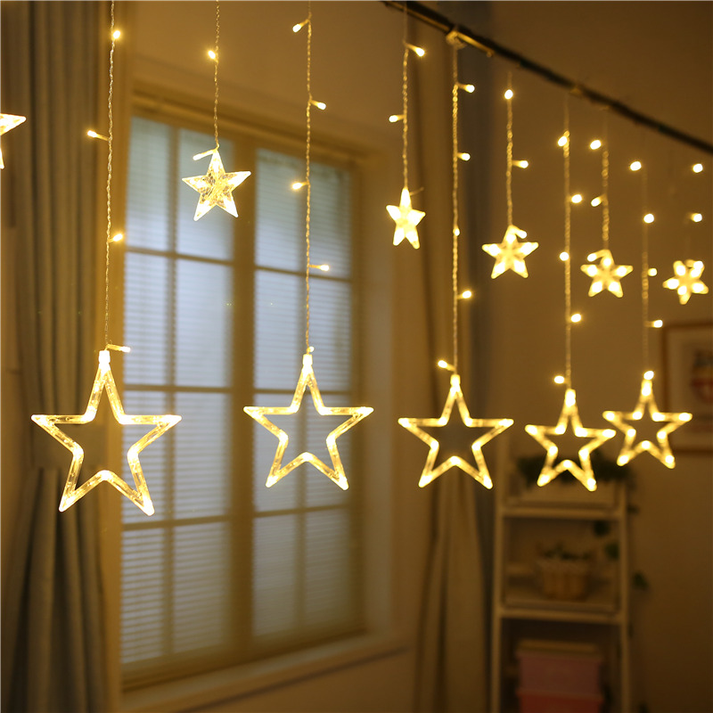 138LED 8 Modes Star LED String Fairy Light Home Window Decor Icicle Lights LED Curtain for Wedding Christmas Xmas Party