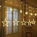 138led 8 modos estrela led string luz de fadas decoração da janela para casa luzes icicle cortina led para festa de natal de casamento