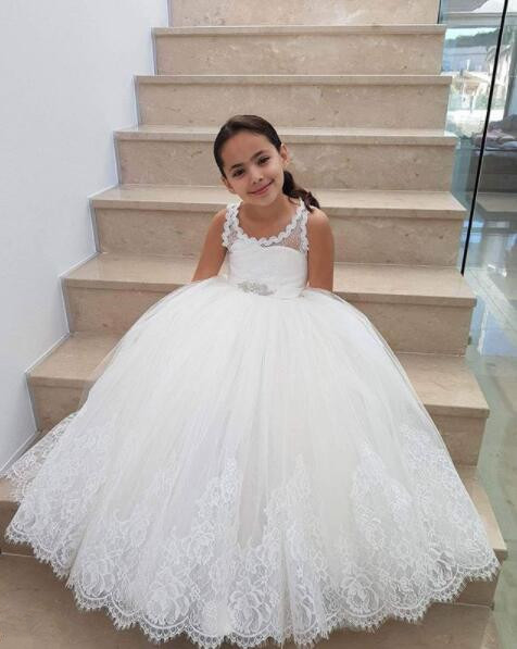 Vintage White/ivory keyhole back laces soft tulle flower girl dresses junior bridesmaid for wedding and party with crystal beltVintage White/ivory keyhole back laces soft tulle flower girl dresses junior bridesmaid for wedding and party with crystal belt