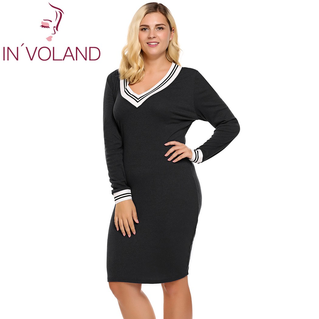 US $25.32 10% OFF|IN\'VOLAND Women\'s Sweater Dress Plus Size Deep V Neck  Long Sleeve Bodycon Pencil Knitted Pullover Autumn Knee Length Lady  Dresse-in ...
