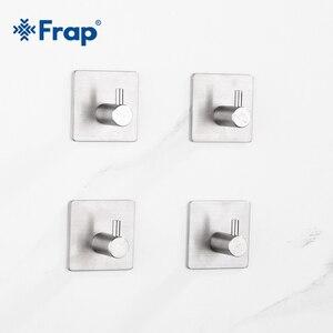 Image 2 - Frap sıcak satış 304 paslanmaz çelik bornoz kanca duvara kapı elbise askısı mutfak banyo paslanmaz çelik havlu kancaları 4 adet/takım Y19002