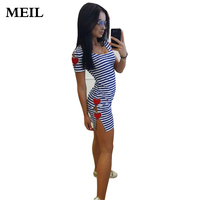 2017 Europe USA New Summer Tide Women Black White Stripe Casual Dress Sexy Fashion Division Long