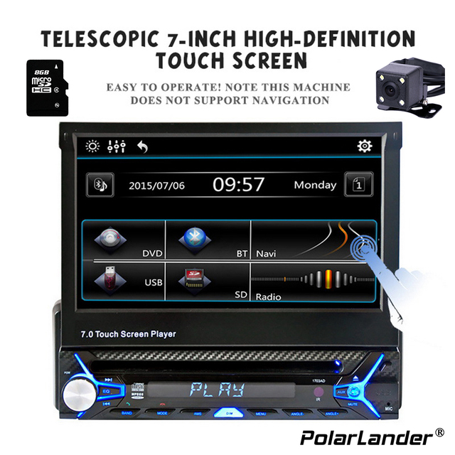 polarlander 7 inch hd touch screen bluetooth fm radio european gps map usb auto multimedia autoradio