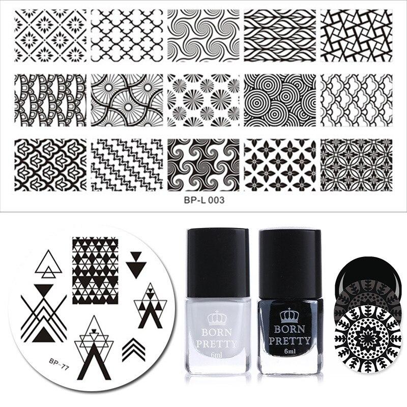 BORN PRETTY 4Pcs Nail Stamping Plate Polish Set 6ml Black White Polish French Triangle Cloud Net Template DIY Nail Decorations 2 0m 4pcs cloud