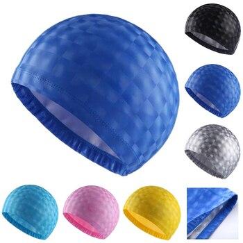 Crystal Water Cube Grids PU Coating Fabric Waterproof Ear Long Hair Protection Swim Pool Swimming Caps Hat for Men Women