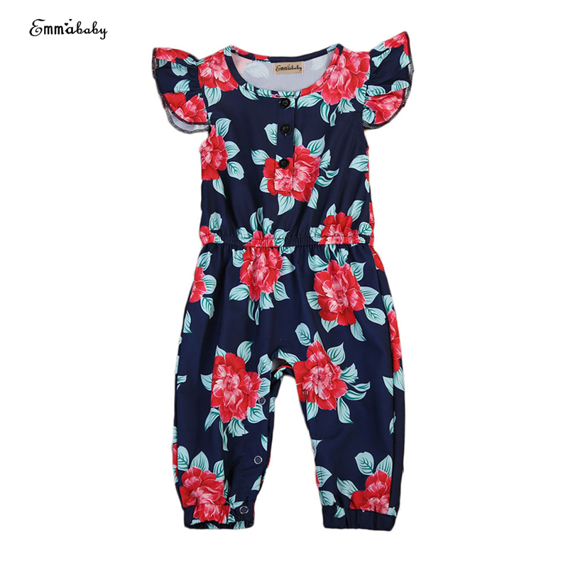 Toddler Kids Girl Floral Romper Summer Elastic Waist Ruffles Romper 2017 New Hot Bebes Jumpsuit One Pieces Sunsuit Clothes 6M-5Y