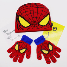 Autumn Winter Girls Boys Hat Set Cartoon Spiderman Warm Cap knitted Gloves Children Sets DS19
