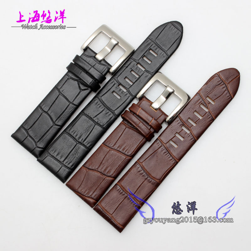 22mm Black Alligator Genuine Leather Straps watchband bans bracelets Silver Deployment Clasp watch straps with silver black deployment clasp watchband genuine leather bracelet for men women watches 20mm 21mm 22mm hot sell
