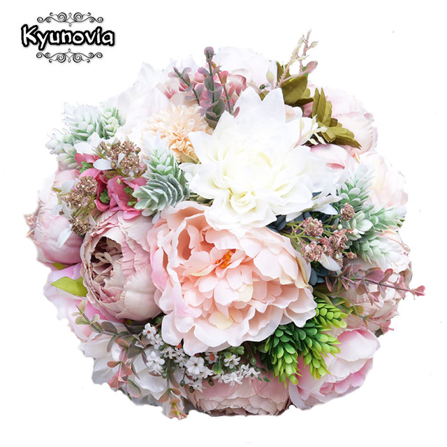 Kyunovia Pink Real Touch Flowers Peony Bouquets For Wedding Peonies