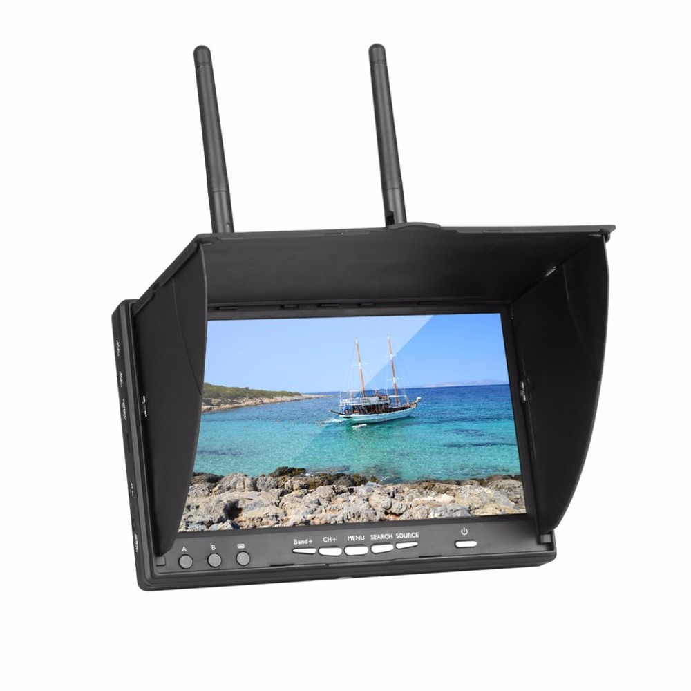 7 Inch LCD Monitor LT-5802S 5802 40CH Raceband Dual 5.8G Diversity Receiver Built-in Battery with Sunshield For RC Drone