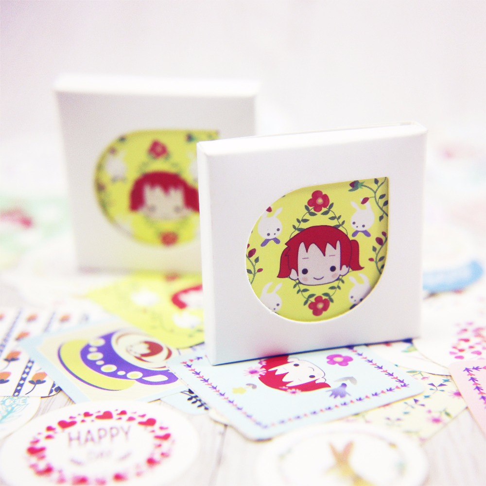 38 Pcs Box Creative Kawaii Girl And Flower Mini Paper Stickers Decoration Diy Diary Scrapbooking Seal
