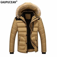 Men Coat Fashion Cotton-padded Fur Hat Removable Winter Clothes Khaki Red Black Zipper Patchwork Thick Man Cotton Padded Jacket