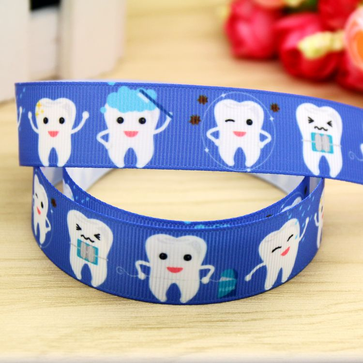 7/8'' Free Shipping Tooth Printed Grosgrain Ribbon Hairbow Headwear Party Decoration Diy Wholesale OEM 22mm P5932