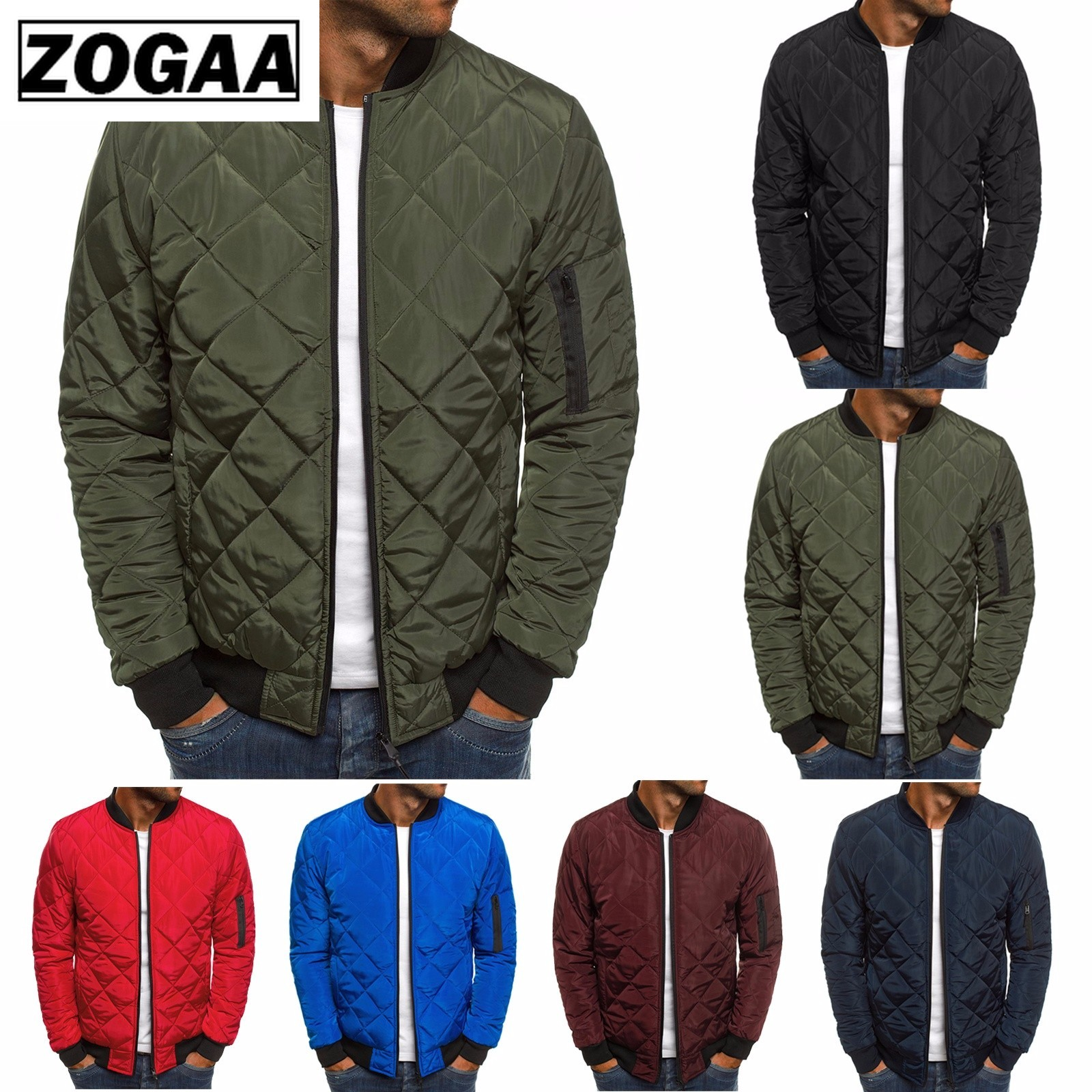 ZOGAA Men Parkas Plaid Jacket Men's Clothes Wind Breaker Solid Parkas Hombre Overcoat Autumn Winter Clothes Zipper Jackets
