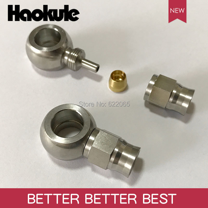 Haokule Stainless Steel STRAIGHT BANJO 10.2MM  Hose End  AN3 TEFLON PTFE HOSE END FITTING  BRAKE SYSTEM FITTINGS-in Brake Hoses & Accessoires from Automobiles & Motorcycles