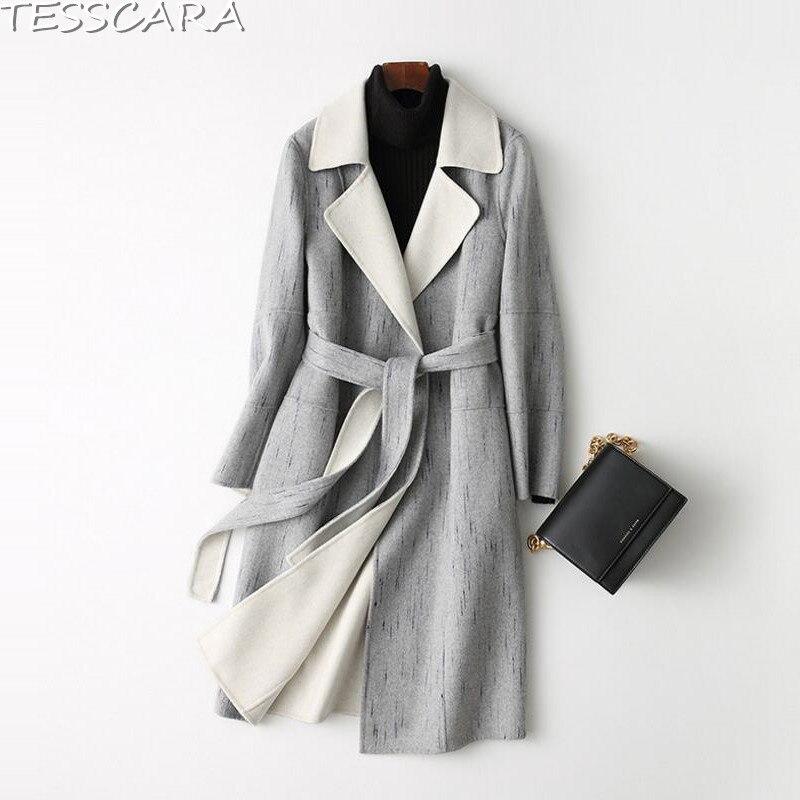 Grey De Manteau Manteaux Base Cachemire Tesscara Mélangée Long Laine Impression Hiver Femmes Femme Automne En Vestes Élégante Veste nnTq8wOA
