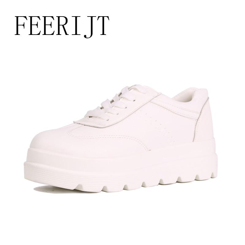 Kvinnor Platform Sneakers Vita Bekväma Spring Casual Lace Up Skor - Damskor