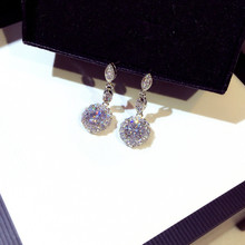TYME fashion round cubic zirconia drop earrings high quality luxury bride wholesale jewelry boucle d oreille pendientes