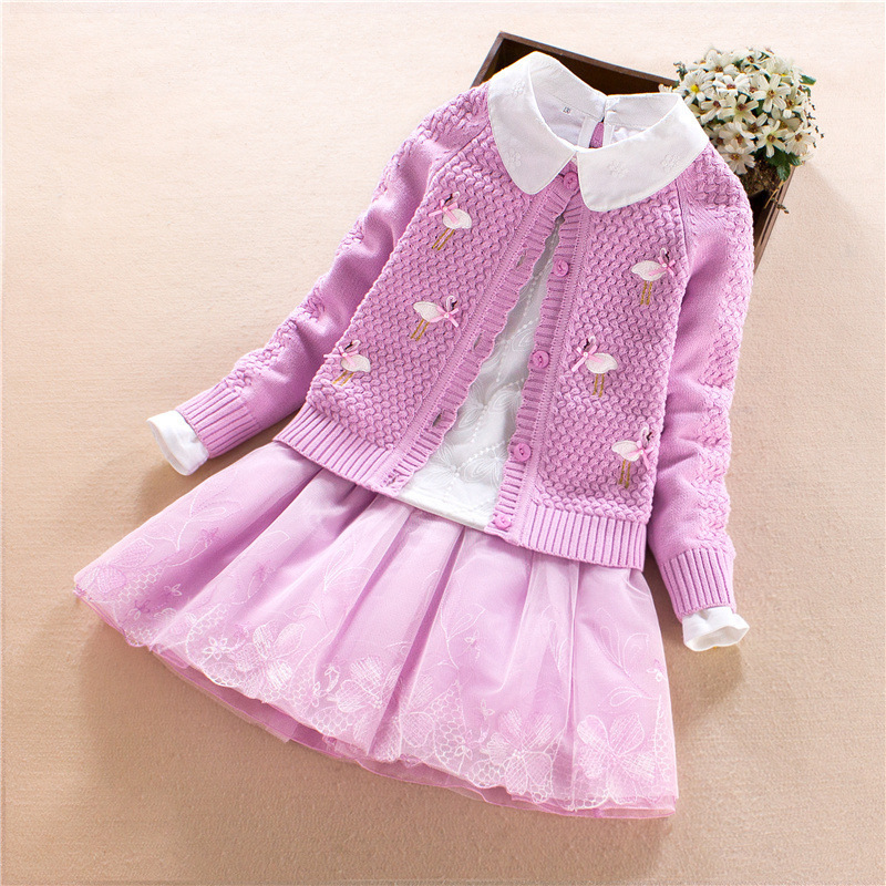 Kids Outfits Girls Clothing Set Sweater 3pcs Autumn Winter Cardigan Girls Swan Embroidered Pom Pom Sweater Kids Clothes 2018 embroidered tape and pom pom trim halter top