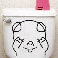 % Sevimli Utangaç Domuz Klozet Sticker Banyo Oturma Odası buzdolabı Dekorasyon Hayvan Çıkartmaları Vinil Sanat Sticker Duvar Posteri