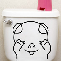 % Cute Shy Pig Toilet Seat Sticker Bathroom Living Room refrigerator Decoration Animal Decals Vinyl Art Sticker Wall Poster