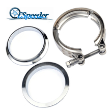 ESPEEDER Universal 2.5 Inch Mild Steel Flange Flat And Stainless V-Band Clamp Kit Turbo Exhaust Flange For Exhaust Turbo Pipe new stainless steel v band flat flange clamp kit assembly 3 inch inner 76mm v band clamp and flange kit male