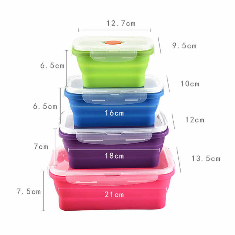 Silicone Bento Box Folding Lunch Bowl Food Storage Container Boxes Tableware RT99